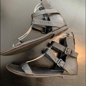 Ann Demeulemeester black leather sandals flats